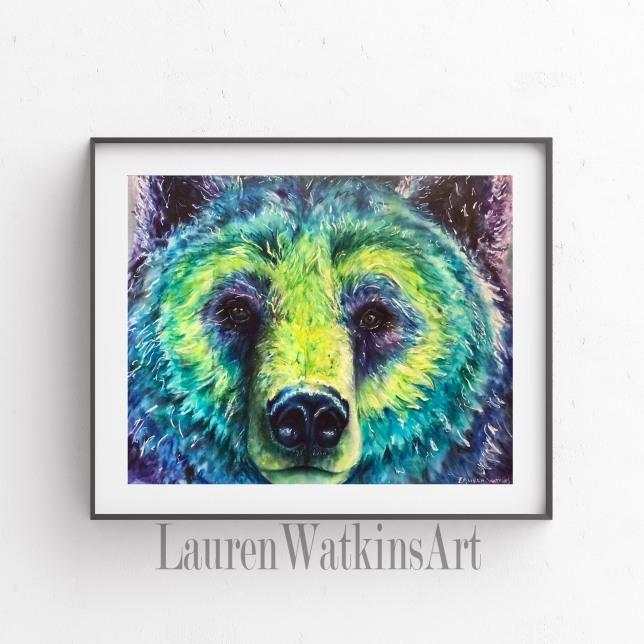 Blue Bear - Watercolor
