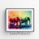 Rainbow Elephants - Watercolor