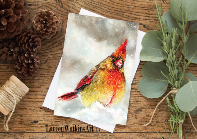 female cardinal in snow card