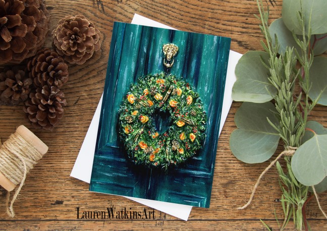 green door wreath card