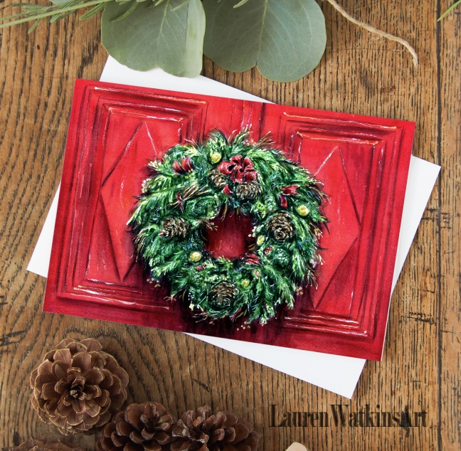 red door wreath card