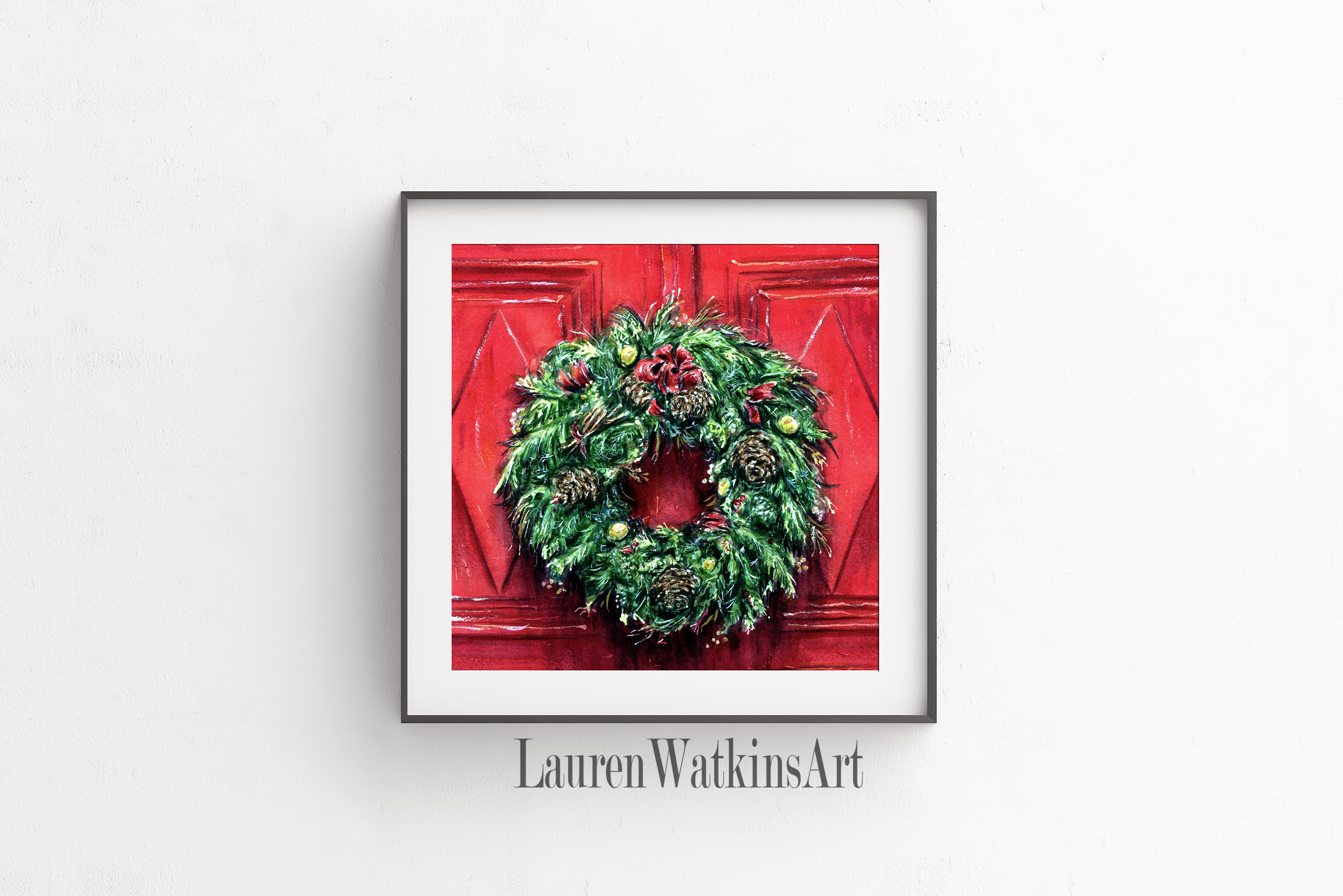 Red Door Wreath Square Lauren Watkins Art