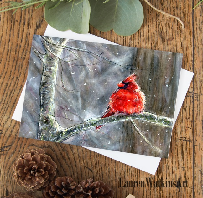 winter cardinal card