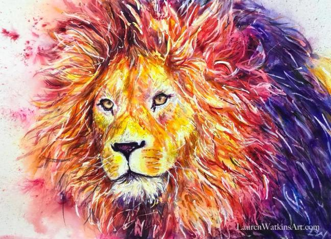 wise lion watercolor painting lauren watkins art