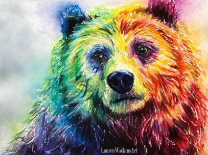Colorful bear - Watercolor